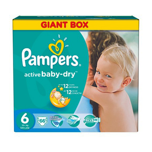 Подгузники Pampers Active Baby Dry 6 Extra Large 15 кг